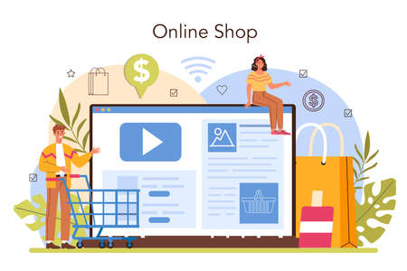 Seller online service or platform. Professional worker in the supermarket