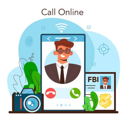 Spy online service or platform. Secret agent or fbi investigating crime