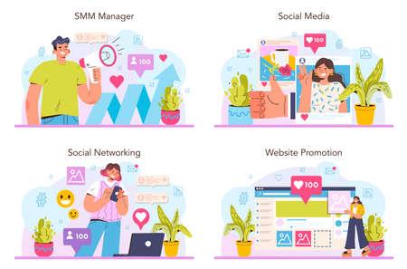 SMM concept set. Social media marketing, advertising of business 일러스트