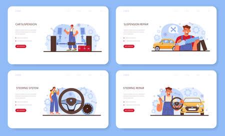 Car repair service web banner or landing page set.