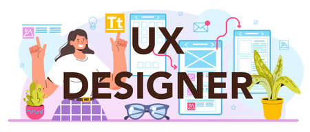 UX designer typographic header. App interface improvement. User interface design