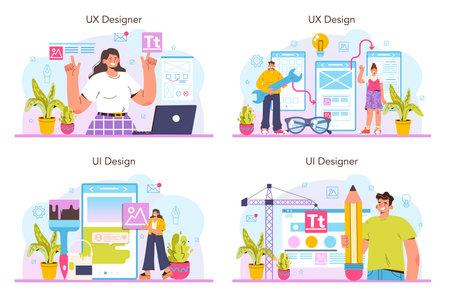 UX and UI designer concept set. App interface improvement. User interface