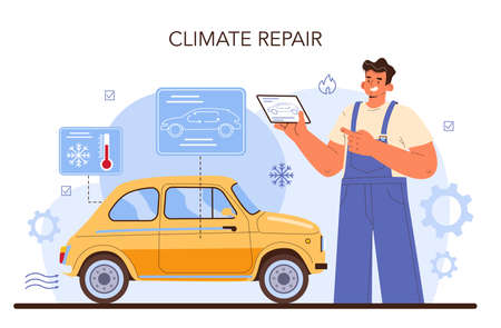 Car service. Mechanic in uniform check a climate vehicle systems