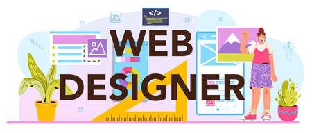 Web designer typographic header. Interface and content presentation 일러스트