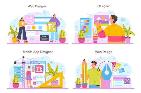 Web designer concept set. Interface and content presentation design
