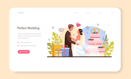Wedding planner web banner or landing page. Professional organizer 일러스트