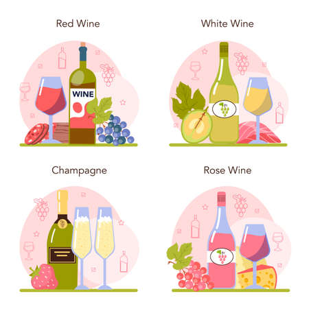 Wine concept set. Grape wine in a bottle and glass full of alcohol drink.