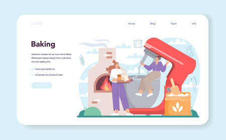 Baker web banner or landing page. Chef in the uniform baking bread 일러스트