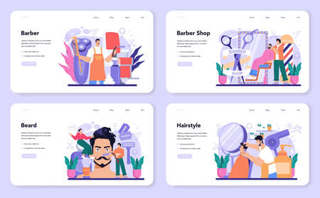 Barber web banner or landing page set. Idea of hair and beard care