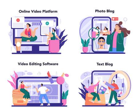 Beauty blogger online service or platform set. Video blogger doing