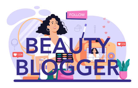 Beauty blogger typographic header. Internet celebrity in social network.