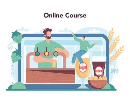 Beer online service or platform. Glass bottle and vintage mug 일러스트