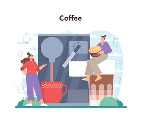 Coffee concept. Barista making a cup of hot coffee in coffee machine. 일러스트