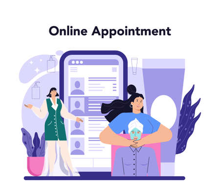 Cosmetologist online service or platform. Skin care and treatment procedure