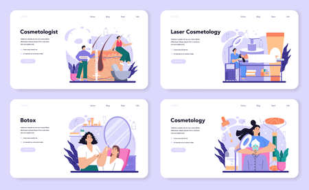 Cosmetologist web banner or landing page set. Skin care and treatment procedure 일러스트