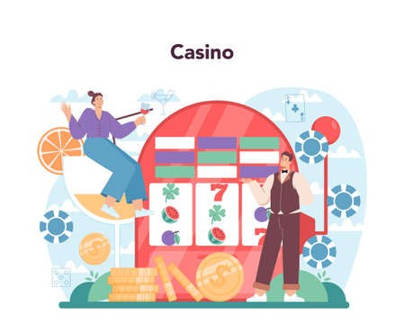 Croupier concept. Person in uniform behind a gambling counter.