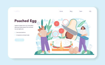 Tasty fried eggs web banner or landing page. Poached eggs