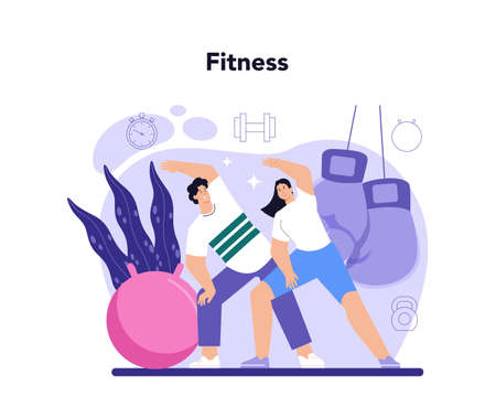 Fitness trainer. Workout in the gym with professional 일러스트