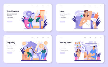 Depilation and epilation web banner or landing page set. Hair removal