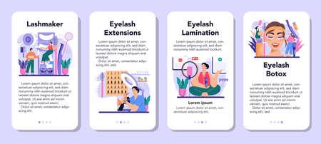 Lashmaker mobile application banner set. Eyelash extension, eyelashes 일러스트