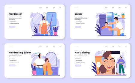 Hairstylist web banner or landing page set. Idea of hairdressing in salon 일러스트