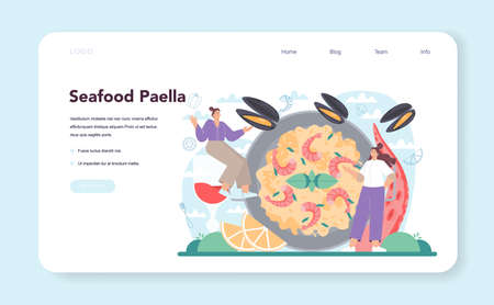 Paella web banner or landing page. Spanish traditional dish with seafood 일러스트
