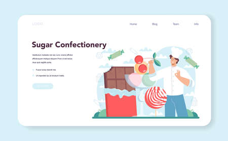 Confectioner web banner or landing page. Professional pastry chef 일러스트