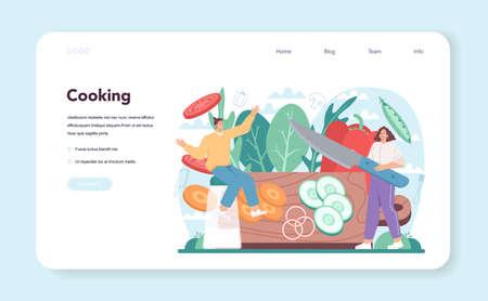 Fresh salad web banner or landing page. Peopple cooking organic