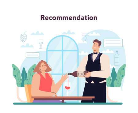 Sommelier concept. Specialist with a glass full of alcohol drink