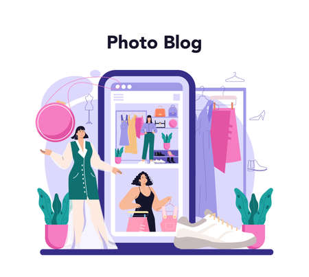 Fashion stylist online service or platform. Fashion and beauty industry 일러스트