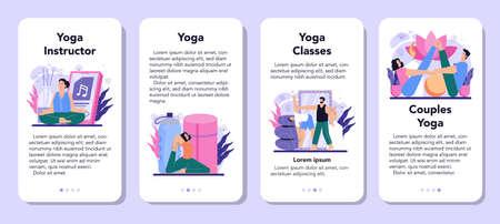 Yoga instructor mobile application banner set. Asana or exercise