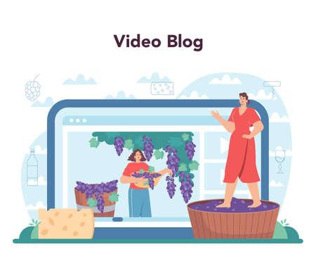 Wine maker online service or platform. Grape wine in a barrel