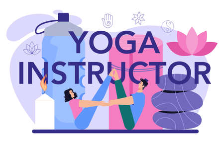 Yoga instructor typographic header. Asana or exercise for men and women. 일러스트