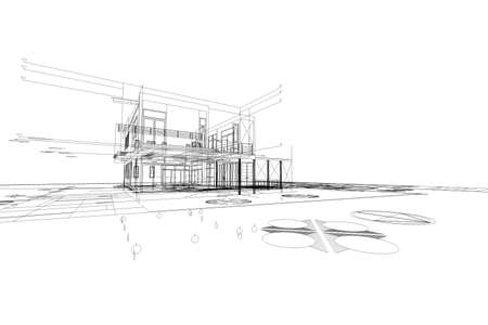 architectural design: Architecture abstract, 3d illustration,Architecture drawing, asian house