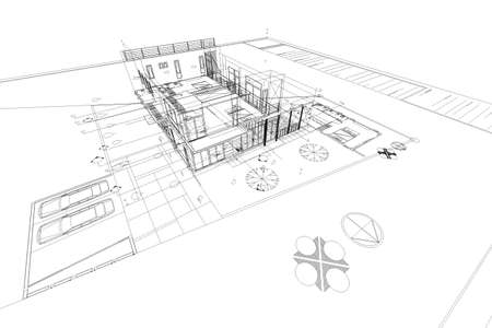 architecture drawing: Architecture abstract, 3d illustration,Architecture drawing