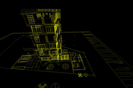 architecture drawing: Architecture abstract, 3d illustration,Architecture drawing,