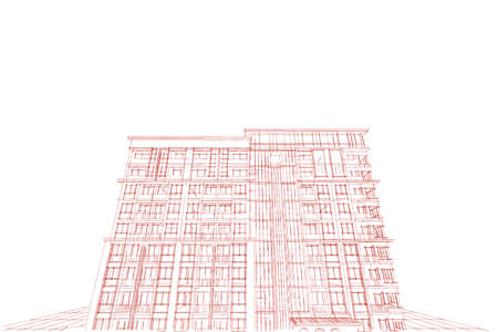 condominium: Architecture abstract, 3d illustration,Architecture drawing, condominium