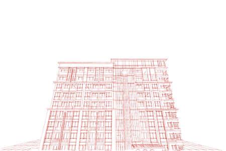condominium: Architecture abstract, 3d illustration,Architecture drawing, condominium