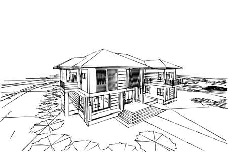 architecture drawing: Architecture abstract, 3d illustration,Architecture drawing, asian house