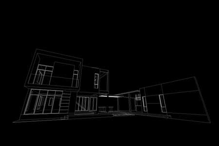 modern house: Architecture abstract, 3d illustration,Architecture drawing, asian modern house Stock Photo