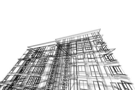 Architektur Abstrakt 3D Darstellung Hochhaus Gebaudestruktur