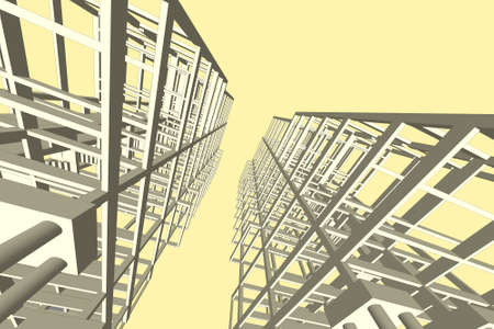 highrise: Architecture abstract,Architecture drawing,high-rise building structure Stock Photo