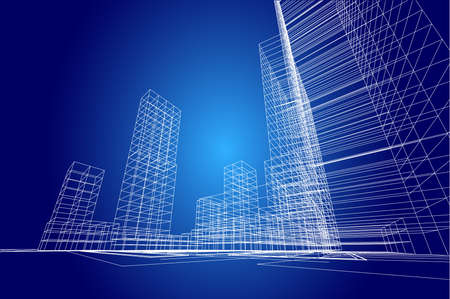 abstract building: city view, architecture abstract, 3d illustration