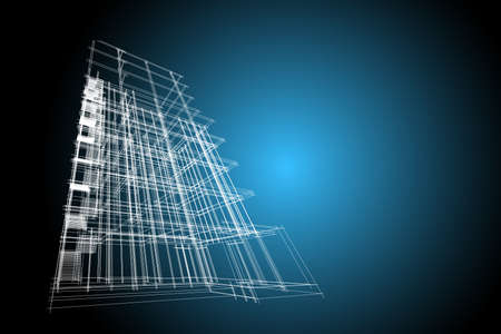 highrise: building structure abstract, 3d illustration,high-rise building