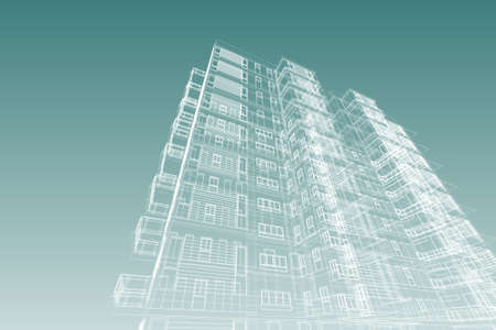 abstract building: building structure abstract, 3d illustration,high-rise building
