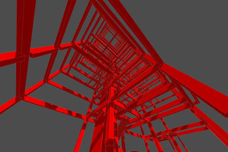 building structure: building structure abstract, 3d illustration,high-rise building