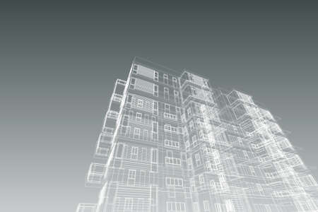 architecture abstract, 3d illustration,high-rise building Stock Photo