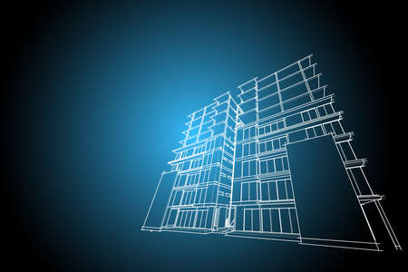 highrise: architecture abstract, 3d illustration,high-rise building Stock Photo