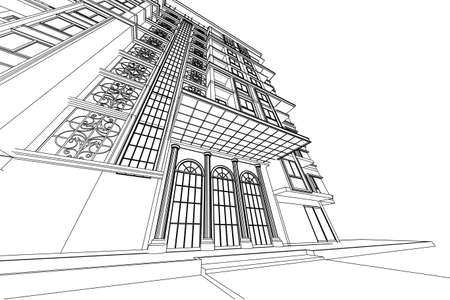 structural engineers: architecture abstract, 3d illustration,high-rise building Stock Photo