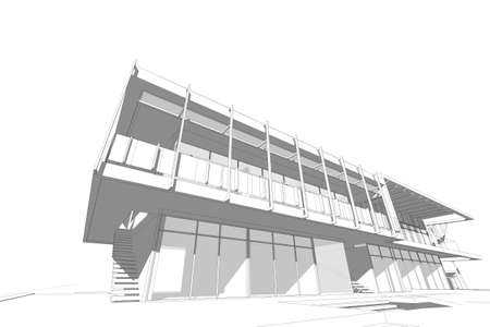 concrete stairs: architecture abstract, 3d illustration,commercial building Stock Photo
